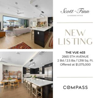 Craving the indoor/outdoor lifestyle? Hoping for a large balcony and view of Balboa Park? Praying for reasonable HOA fees? You just found it! This 4th floor residence at The Vue is only 1 of 4 homes to enjoy an extended, wind protected balcony. A full wall of Cantina doors opens to your expansive balcony and offers ample space to entertain, enjoy and relax. Contact us  at 619-762-4099 for more information.  Scott-Finn & Associates DRE #01493056 Compass DRE #01527365  #realestatesandiego #compasssd